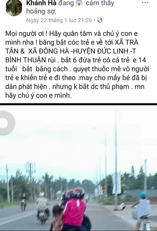 Dân Bình Thuận hoang mang vì thông tin 6 trẻ bị bắt cóc - Ảnh 1.