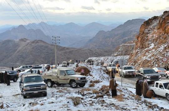 Kinh ngạc tuyết phủ trắng sa mạc ở Trung Đông - Ảnh 1.