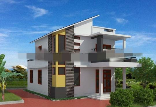 10 mẫu nhà 2 tầng mái lệch đẹp hiện đại - Ảnh 2.