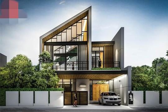 10 mẫu nhà 2 tầng mái lệch đẹp hiện đại - Ảnh 9.