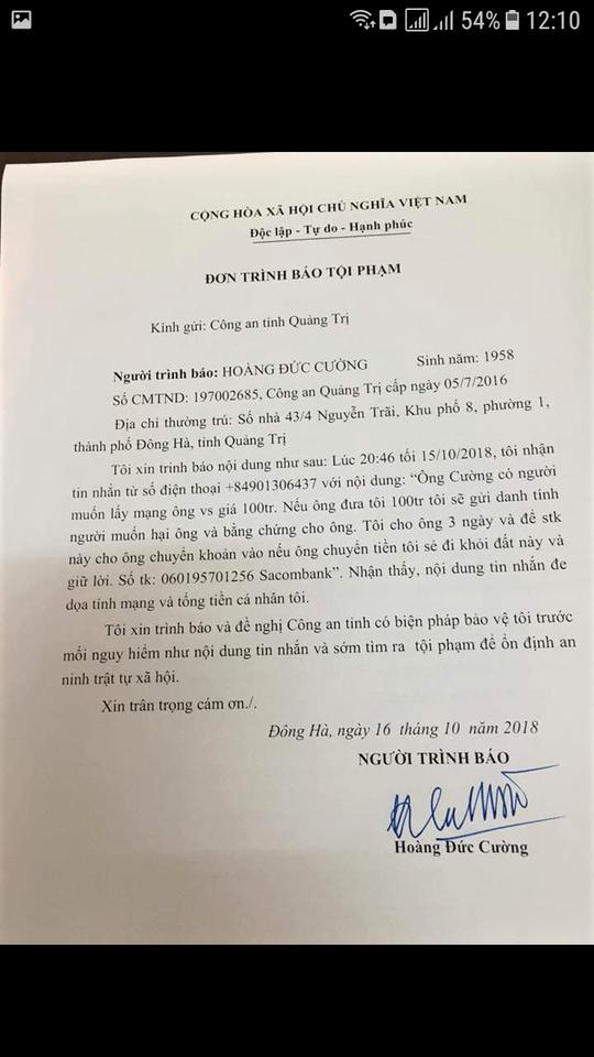 Chánh Văn phòng Đoàn ĐBQH tỉnh Quảng Trị bị nhắn tin đe dọa, tống tiền - Ảnh 2.