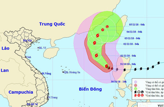 Bão Yutu vào Biển Đông thành bão số 7, chuyển ngoặt hướng di chuyển - Ảnh 1.