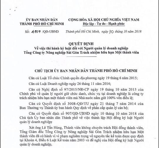 TP HCM: Tăng mức kỷ luật ông Lê Tấn Hùng - Ảnh 1.