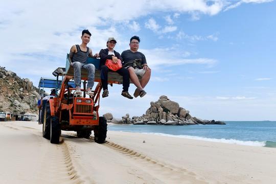 Máy cày, xe bọ hung độc đáo chuyên chở du khách ở Mũi Dinh - Ảnh 1.