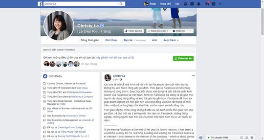 Bà Lê Diệp Kiều Trang rời Facebook Việt Nam - Ảnh 1.