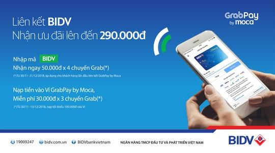 Ưu đãi hơn 1 tỉ đồng cho khách hàng BIDV dùng Grabpay by Moca - Ảnh 1.