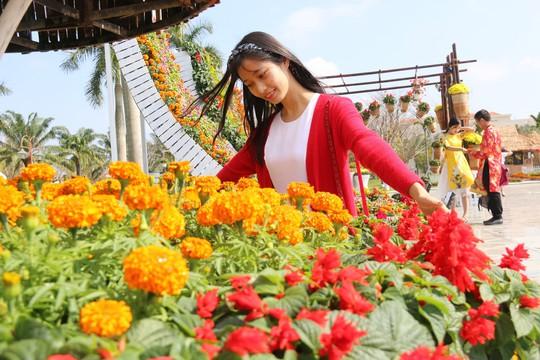 Khoác áo hoa ngày Tết, quảng trường Tam Kỳ đẹp lộng lẫy - ảnh 7