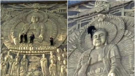"""Nữ du khách bị """"ném đá"""" vì ngồi vào lòng tượng Phật - Ảnh 3."""