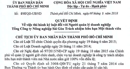 Tổng Giám đốc Tổng Công ty Nông nghiệp Sài Gòn bị kỷ luật - Ảnh 1.