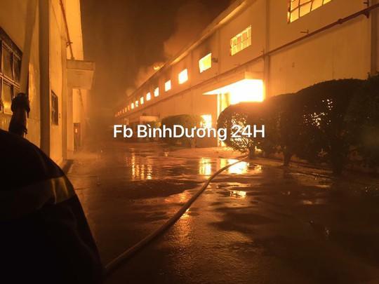 Lính cứu hỏa kiệt sức, ngủ tại hiện trường vụ cháy ở Bình Dương - Ảnh 1.