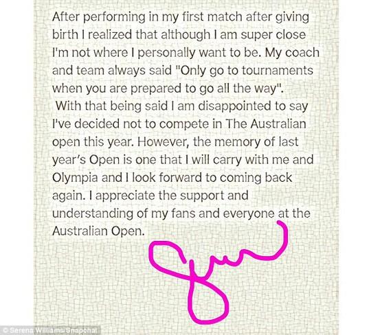 Serena Williams không tham dự Giải Úc mở rộng 2018 - Ảnh 2.