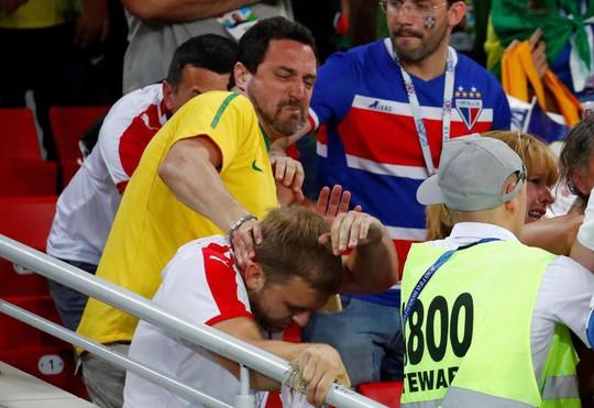 """Trận Brazil – Serbia: CĐV hăng máu """"đấu võ"""" trên khán đài - Ảnh 1."""