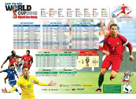 Báo Người Lao Động phát hành lịch thi đấu World Cup 2018 - Ảnh 1.