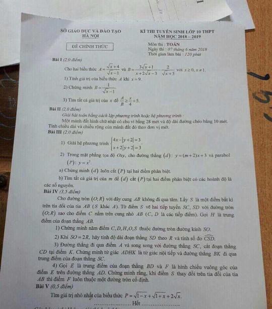 Thi lớp 10 Hà Nội: Sáng lọt đề môn văn, chiều lại nghi lộ đề môn toán - Ảnh 1.