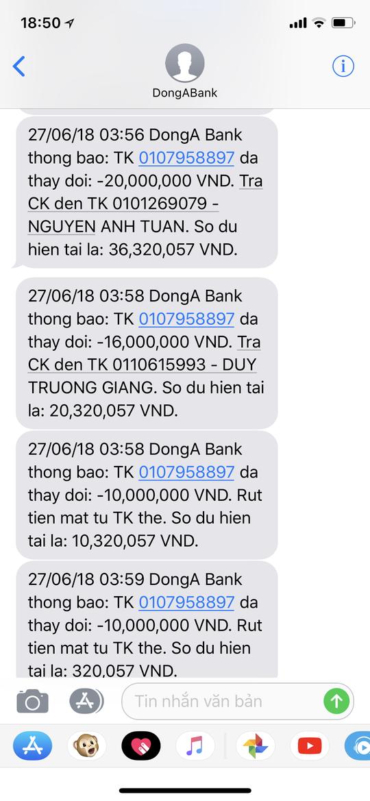 Chủ thẻ DongA Bank mất 116 triệu đồng muốn sớm được hoàn tiền - Ảnh 1.