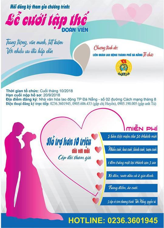 Đà Nẵng: Tổ chức lễ cưới tập thể cho đoàn viên khó khăn - Ảnh 1.