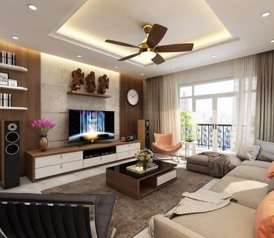 Căn hộ chung cư thiết kế với gam màu  nâu gỗ mộc mạc, gần gũi mà tinh tế không kém phần sang trọng