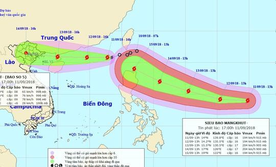 """Siêu bão Mangkhut """"đuổi theo"""" bão số 5 vào Biển Đông - Ảnh 1."""