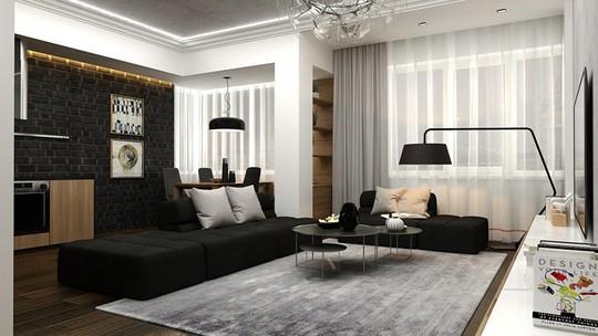Căn hộ phong cách với màu đen, trắng và nâu gỗ - Ảnh 1.