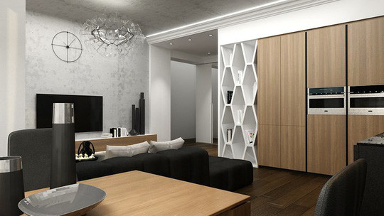 Căn hộ phong cách với màu đen, trắng và nâu gỗ - Ảnh 3.