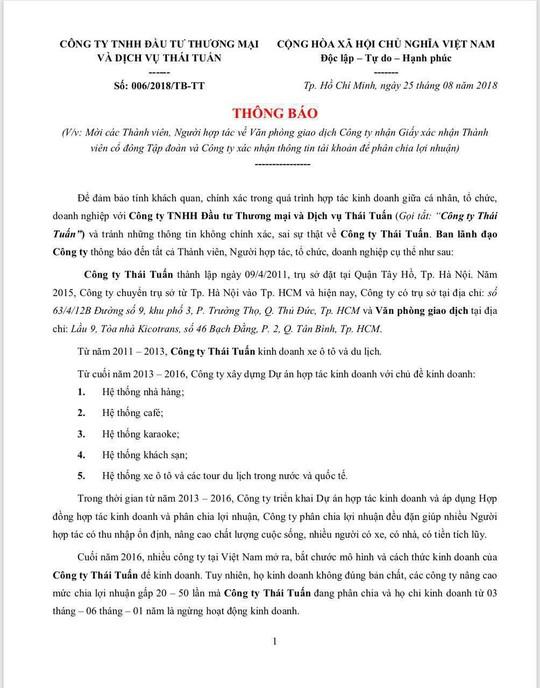 Mập mờ việc Công ty Thái Tuấn của Vũ Đức Tĩnh mời người góp vốn đến nhận lãi