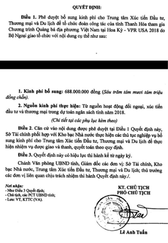 3 quan chức Thanh Hóa đi Mỹ: Đề xuất 1,7 tỉ đồng, được duyệt 688 triệu đồng - Ảnh 1.