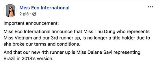 Thư Dung bị thu hồi danh hiệu á hậu Miss Eco International - Ảnh 2.