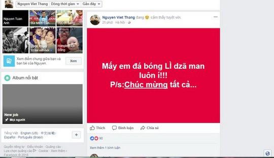 Mạng xã hội Facebook tràn ngập sắc đỏ chiến thắng - Ảnh 3.
