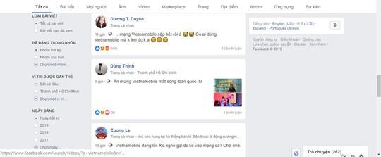Khách hàng Vietnamobile phản ánh không dùng được dịch vụ mạng từ tối 10-1 - Ảnh 1.