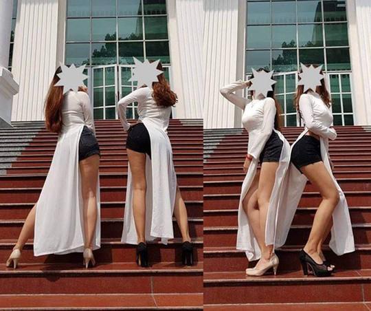 Thảm họa thời trang khi mỹ nhân Việt diện áo dài phản cảm - Ảnh 1.