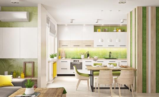 Không gian nhà bếp độc đáo với màu xanh lá cây - Ảnh 1.