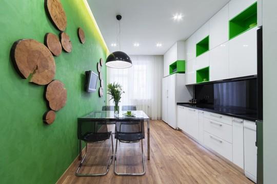 Không gian nhà bếp độc đáo với màu xanh lá cây - Ảnh 4.