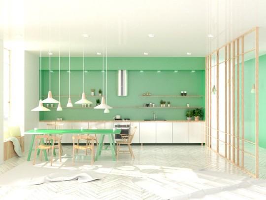 Không gian nhà bếp độc đáo với màu xanh lá cây - Ảnh 8.