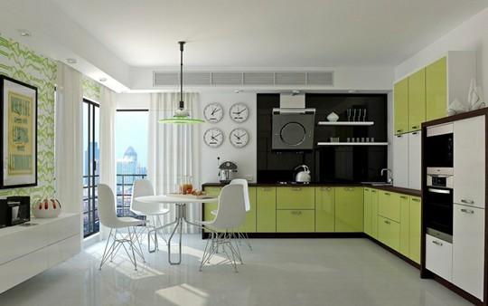 Không gian nhà bếp độc đáo với màu xanh lá cây - Ảnh 9.