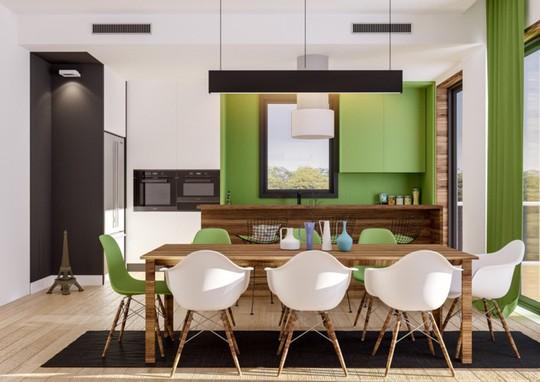 Không gian nhà bếp độc đáo với màu xanh lá cây - Ảnh 10.