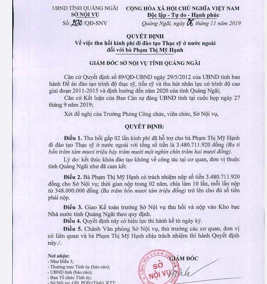 Quan chức Quảng Ngãi phân trần chuyện con du học bằng tiền ngân sách không về - Ảnh 1.