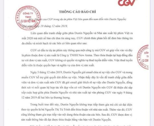 CGV lên tiếng sau khi bị Dustin Nguyễn tố kiêu ngạo, vô đạo đức - Ảnh 1.
