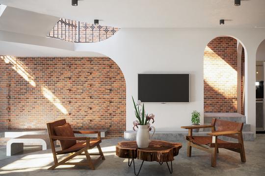 Ngôi nhà ấn tượng nhờ có tường làm bằng gạch trần - Ảnh 1.