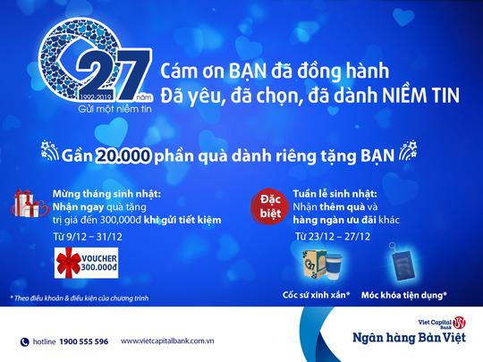 Ngân hàng Bản Việt tung hàng ngàn ưu đãi, 20.000 phần quà dịp sinh nhật - Ảnh 1.