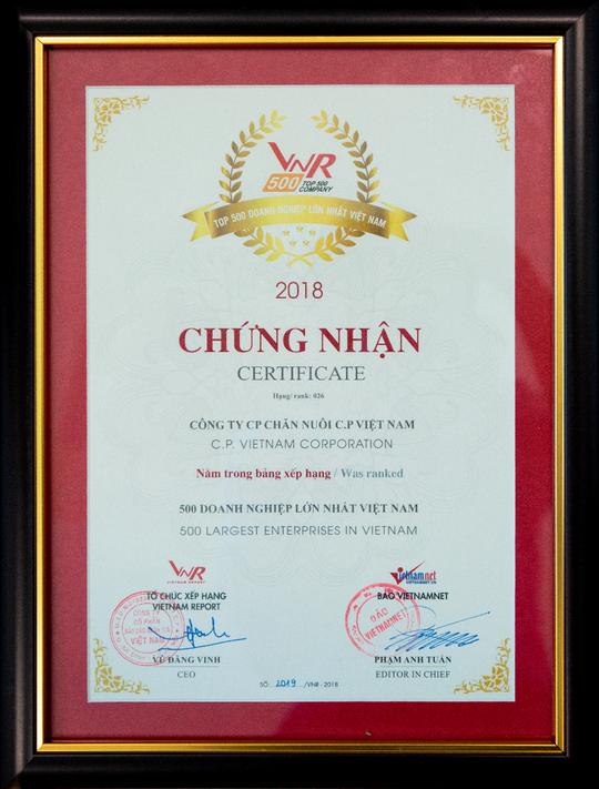 C.P. Việt Nam đứng thứ 26/500 doanh nghiệp lớn nhất năm 2018 - Ảnh 2.
