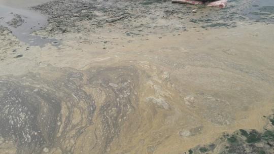 Trạm bơm quá tải, nước thải sủi bọt vàng đục chảy ra biển  - Ảnh 2.