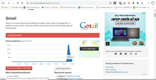 Google Gmail, Drive, Maps đang gặp sự cố - Ảnh 1.