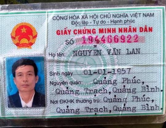 Chứng minh nhân dân ông Nguyễn Văn Lan