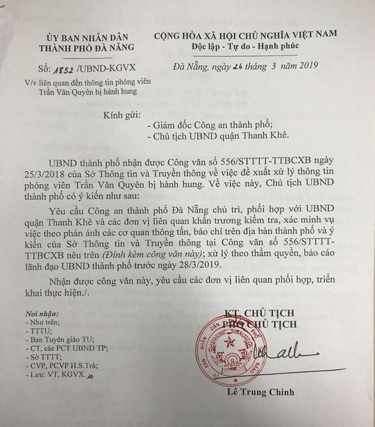 Chủ tịch Đà Nẵng yêu cầu báo cáo vụ phóng viên Báo Người Lao Động bị hành hung - Ảnh 1.