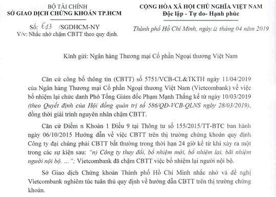 Vietcombank bị nhắc nhở vì chậm công bố bổ nhiệm lãnh đạo - Ảnh 1.