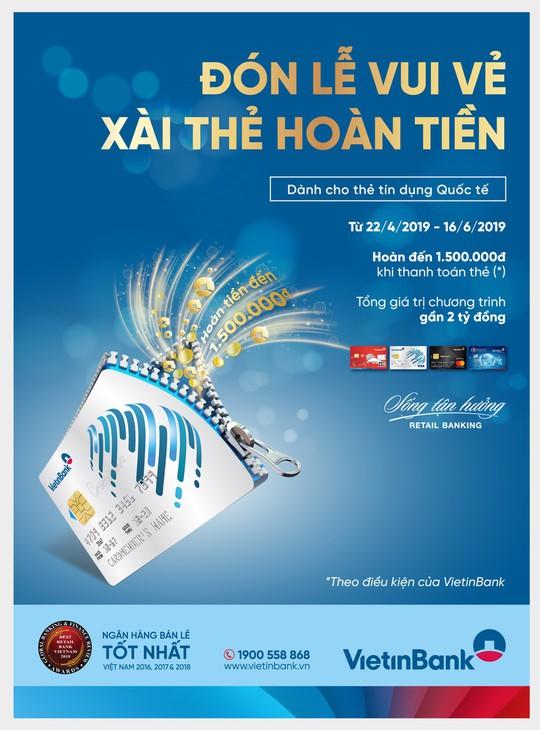 Xài thẻ hoàn tiền tại VietinBank