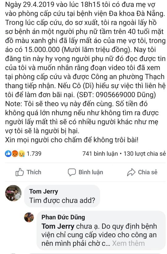 Đà Nẵng: Truy tìm người phụ nữ cầm nhầm 15 triệu đồng của bệnh nhân tim - Ảnh 2.