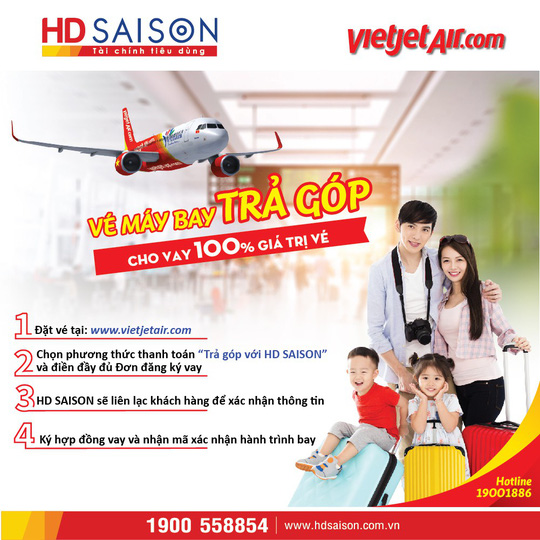 """Mua vé máy bay trả góp trong """"Ngày không tiền mặt"""", nhận ưu đãi lớn từ HD SAISON - Ảnh 1."""