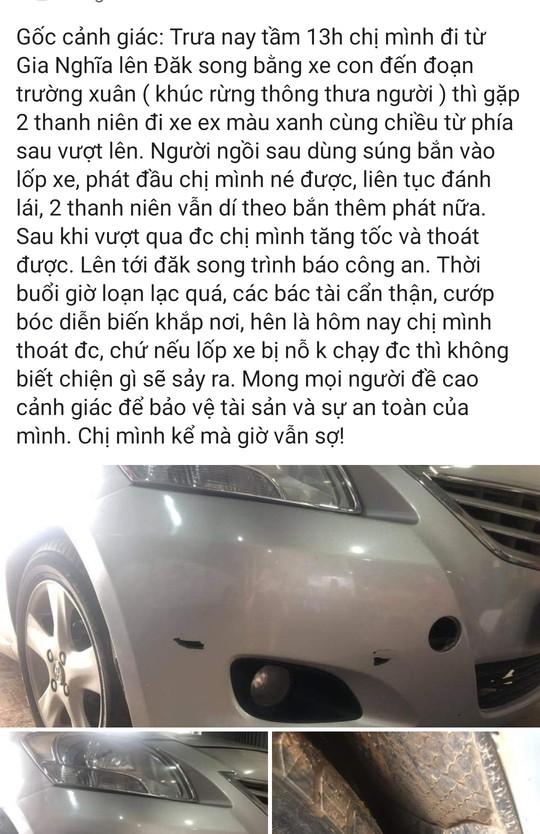 Xac minh thong tin cuop ruot duoi ban vao xe con tren duong Ho Chi Minh