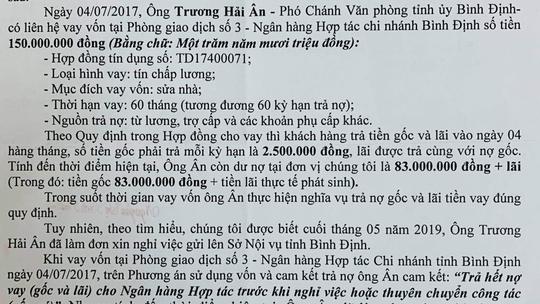 Phó giám đốc Sở LĐ-TB-XH Bình Định bị tố nợ nần: Ngân hàng nhờ thu hồi tiền vay! - Ảnh 1.